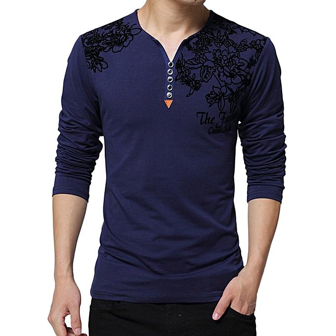 Fashion Men's Spring Casual Fashion Printing Long Sleeved Button T-shirt Tops Blouse -Navy à prix pas cher