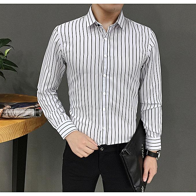Fashion jiahsyc store  Mens Suit Fit Long Sleeve Button Striped Down Dress Shirts Tops Blouse WH L à prix pas cher