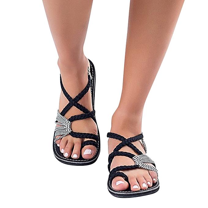 Fashion Blicool chaussures femmes Flip Flops Sandals Summer chaussures Woven Strap Fashion Beach chaussures Slippers blanc à prix pas cher    Jumia Maroc