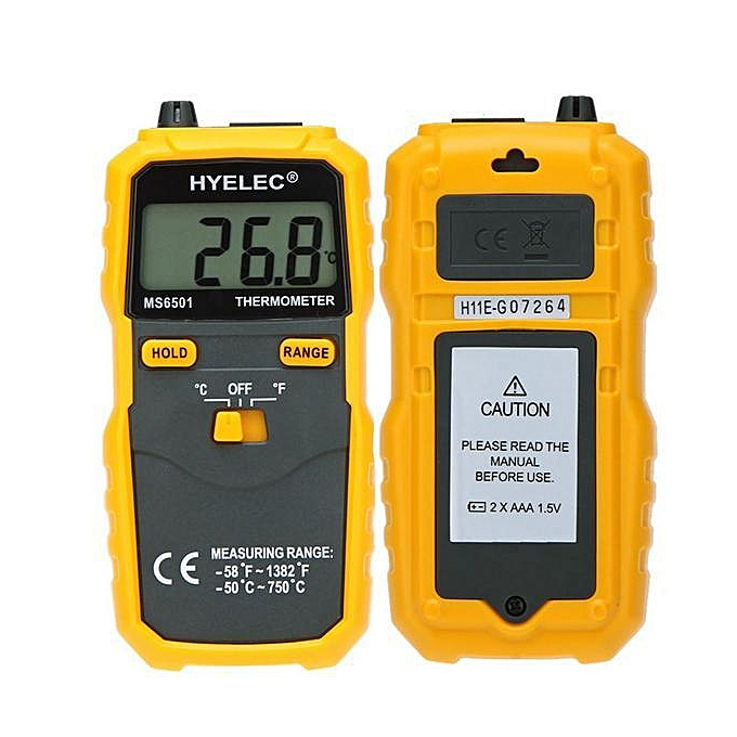 UNIVERSAL HYELEC MS6501 Large LCD Display Termostato Digital Thermometer K Type Thermocouple Termometro With Data Hold Logging jaune à prix pas cher