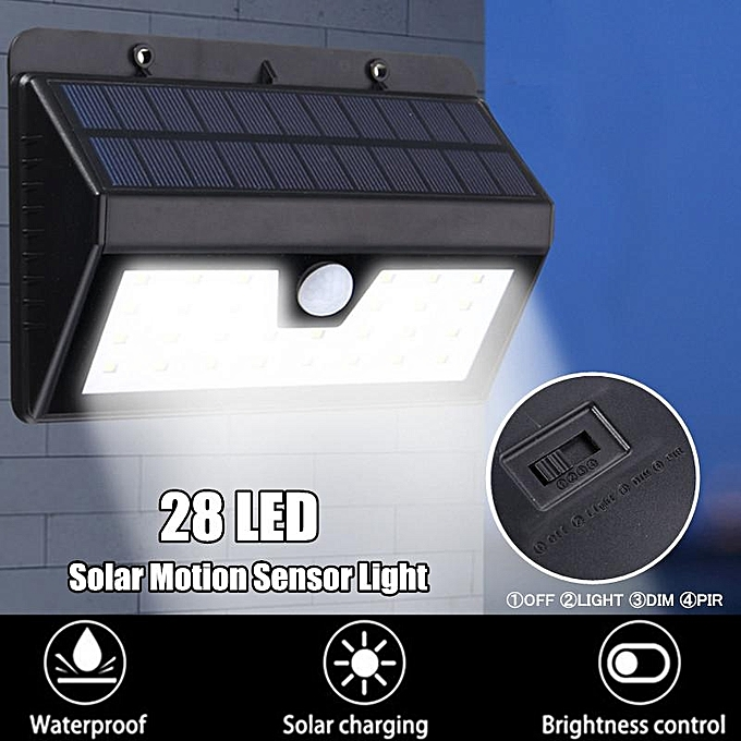 UNIVERSAL 28 LED Solar Power PIR Motion Sensor Wall Light Outdoor Garden Lamp Waterproof à prix pas cher