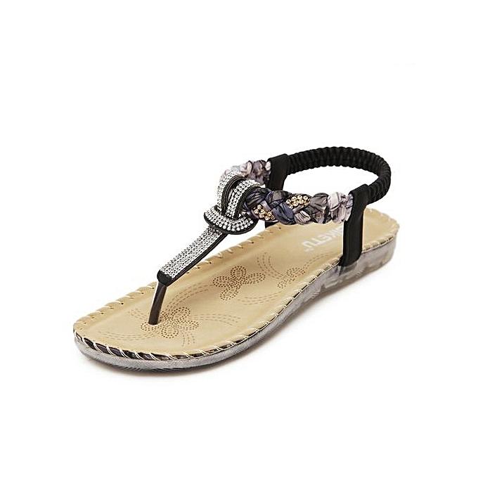 OEM Large Taille femmes Summer Sandals Bling Beading Plaftorm Wedges chaussures femme Slid Slip-on Rohomme Flip Flops -noir à prix pas cher