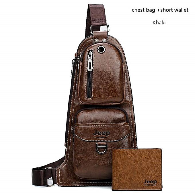 Other JEEP  Hommes Messenger sacs Hot bandoulière Shoulder sac Famous Man's cuir Sling Chest sac mode Décontracté 6196(Khaki 6196-W002) à prix pas cher