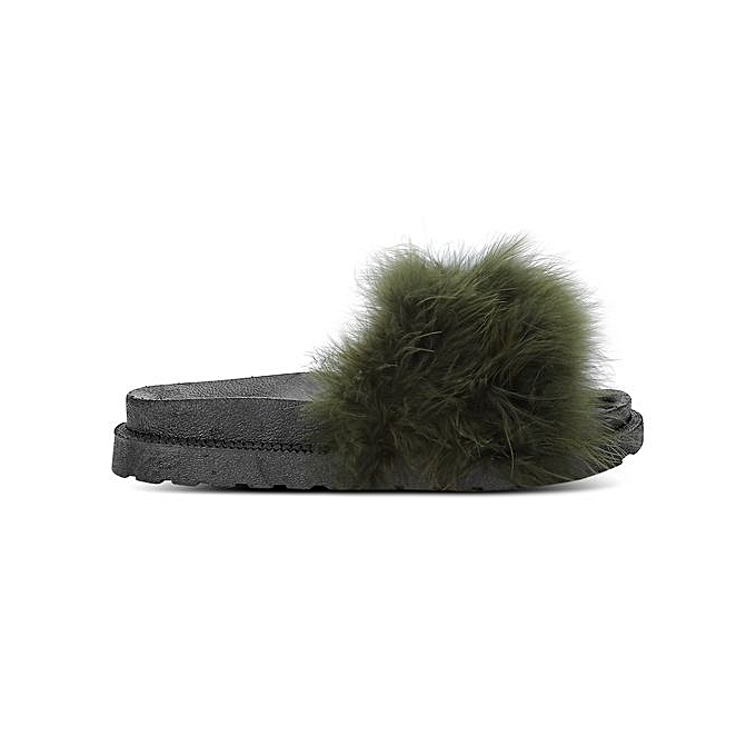 Générique WoHommes   WoHommes Casual Flat Platform Coral Fleece Lightweight Slippers-ARMY GREEN à prix pas cher  | Jumia Maroc 6c6b6f