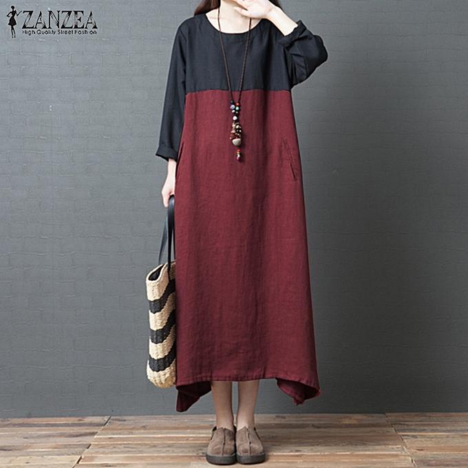 Zanzea Plus femmes Batwing Sleeve Long Shirt Dress Round Neck Casual Splice Maxi Dress à prix pas cher
