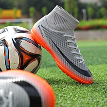 check out 2ad48 a99b5 New Stylish Youth Flying Weave Breathable Mesh Broken Nails Football Shoes -Grey
