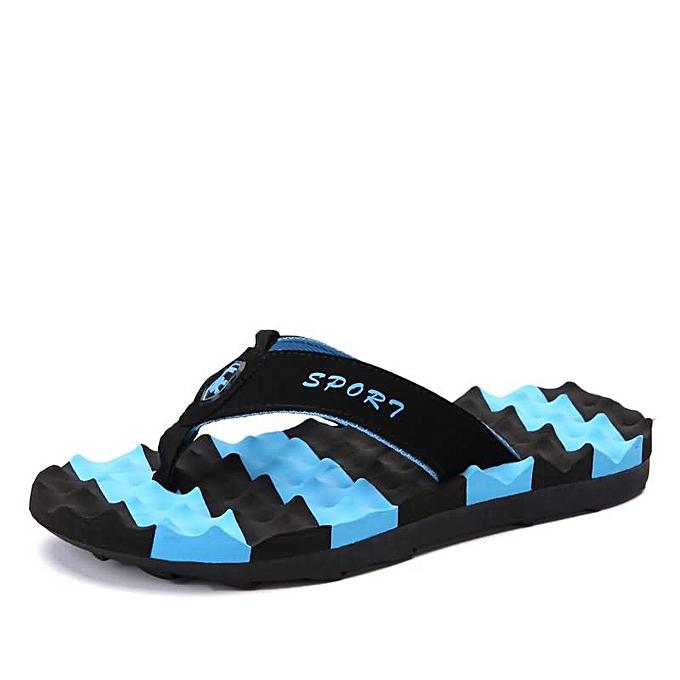 Fashion Men's Flip-Flip Beach Flip-Flops Slippers - bleu à prix pas cher