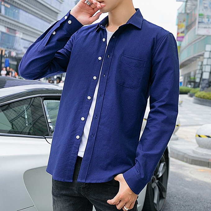 Tauntte manche longue Shirts For Hommes Formal Shirts (Royal bleu) à prix pas cher