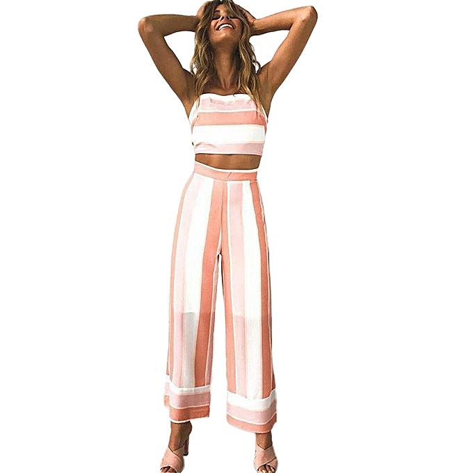 Generic Generic femmes Striped Backless Strappy Tops Trouser Sets Ladies 2PCS Beach Jumpsuit A1 à prix pas cher