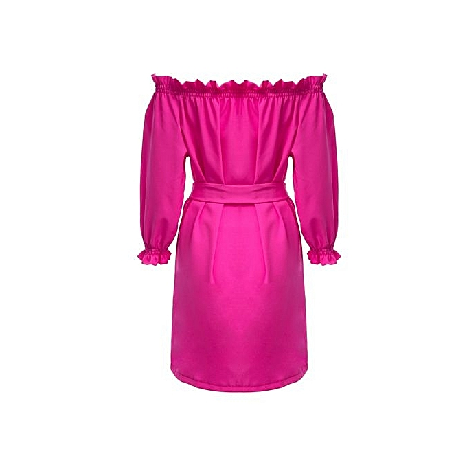 mode Sweet Off The Shoulder Ruffle Lace-up Slim Robe With Belt For femmes - lumière rose à prix pas cher