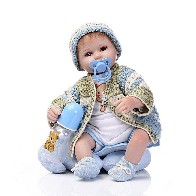 Autre Reborn Babies Silicone   Playing Sleeping Accompagner des poupées réalistes blanc & amp;bleu à prix pas cher
