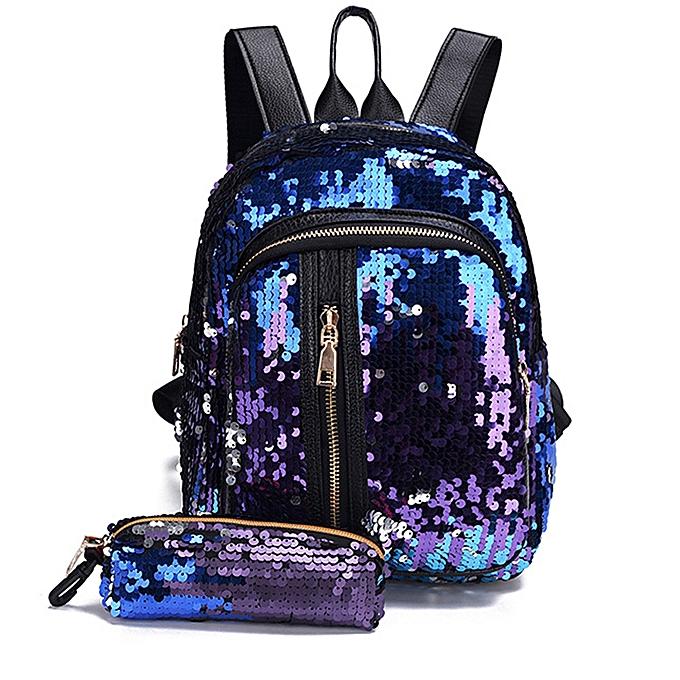 Generic Excellent  Girl Sequins School sac sac à dos voyage Shoulder sac+Clutch Wallet à prix pas cher