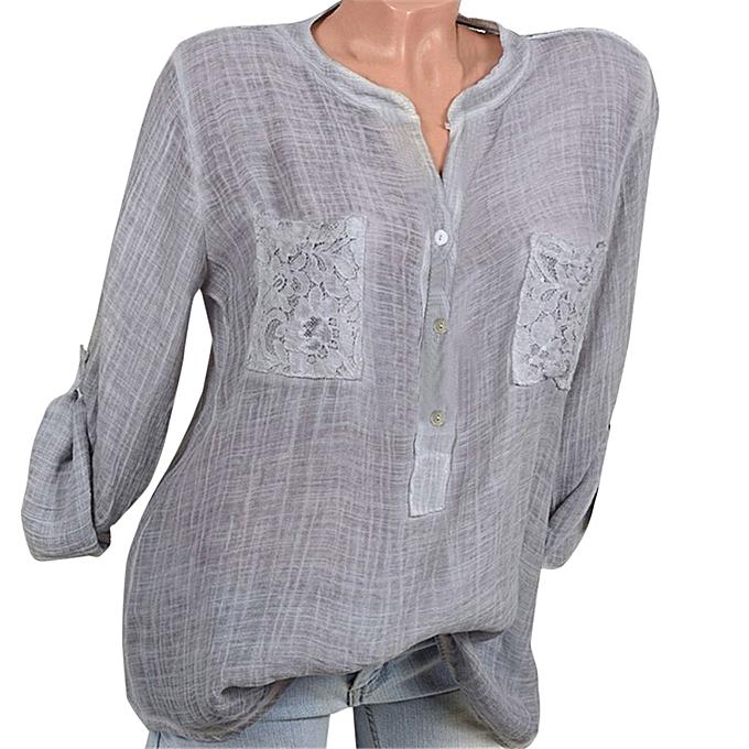 Fashion femmes Fashion V-Neck Blouse Pure Couleur Casual Loose Shirts Lace Pocket Tops à prix pas cher