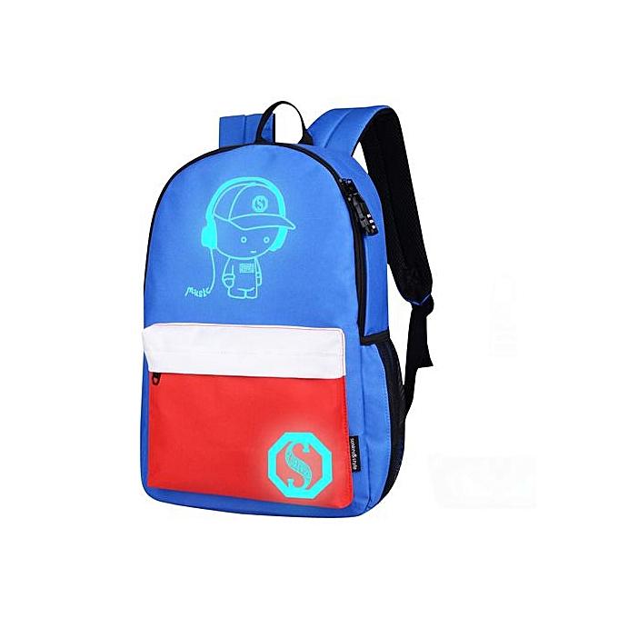 Fashion Hiamok_Unisex Light Preppy Teenagers Noctilucent Cartoon School Bags Student Backpack à prix pas cher