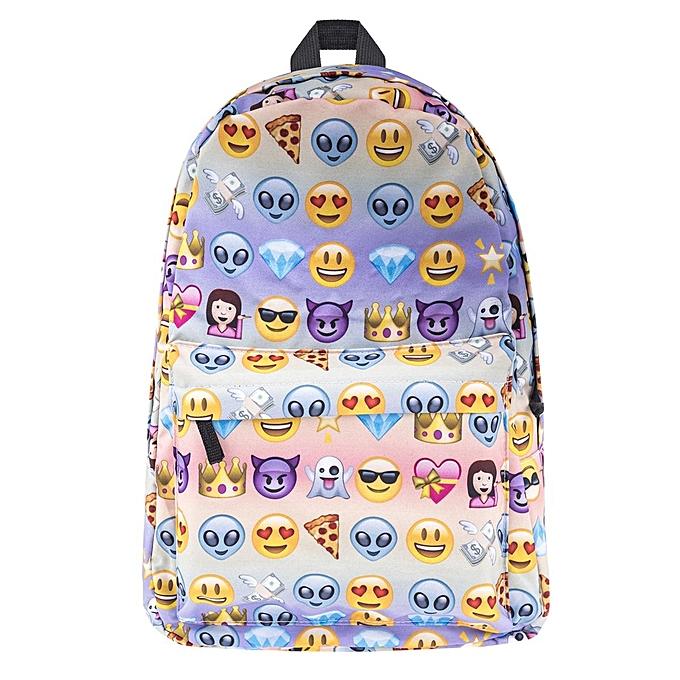 mode femmes Hommes Girls voyage sac à dos Emoji Shoulder School Book sac sac à dos mode à prix pas cher