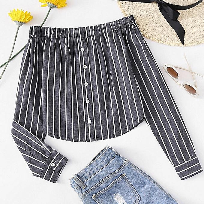 Generic Generic femmes Button Striped Backless Off Shoulder Shirt Long Sleeve Blouse A1 à prix pas cher