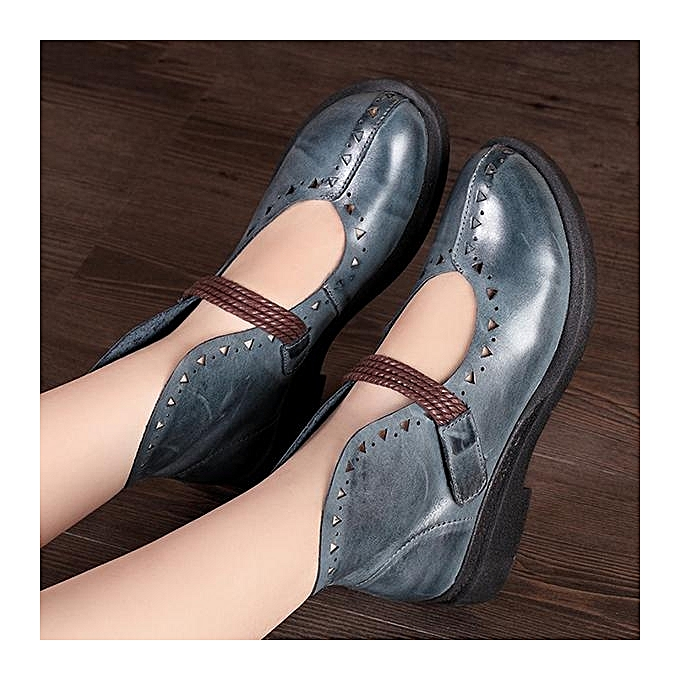 Fashion SOCOFY Retro Hollow Out Out Hollow Pattern Hook Loop Flat Leather Shoes à prix pas cher  | Jumia Maroc 188ffa