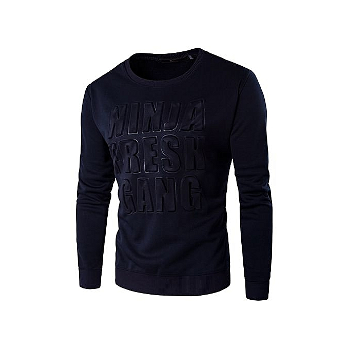 Generic Refined Cotton Solid Couleur T Shirt Refined 2018 Autumn And Winter Man T-shirt Fashion Long Sleeved Casual O-neck T Shirt Plus Taille M-5XL-bleu à prix pas cher