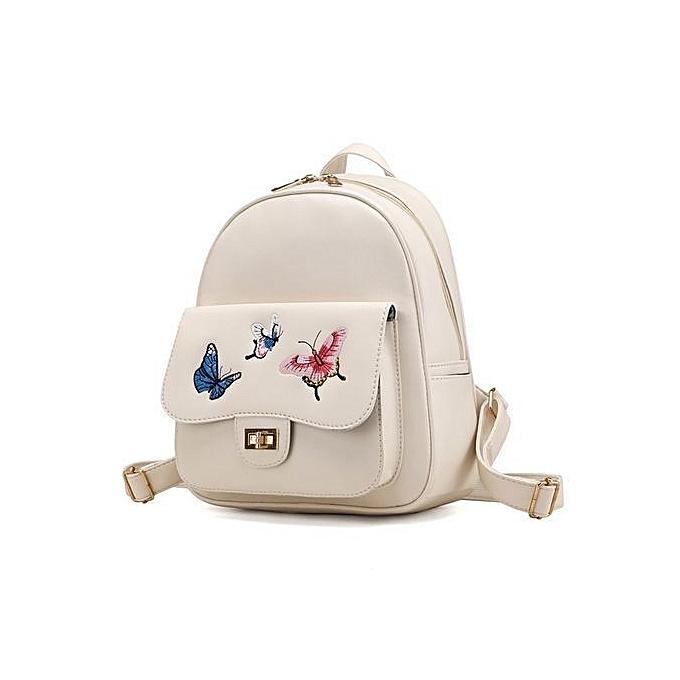 Neworldline 4 Sets femmes Girl Butterfly Embroidery  Backpack School Bag Shoulder Handbag  BG- Beige à prix pas cher