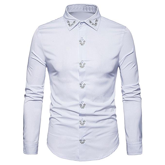 mode Pour des hommes Hipster Fit manche longue Button Embroidery Robe Shirts hauts chemisier WH XL à prix pas cher