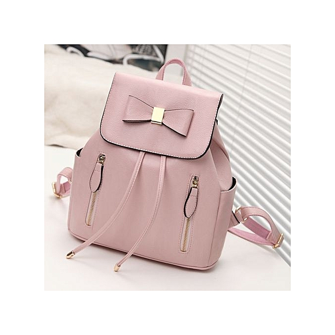 Generic Nice Multi-function sac à dos For femmes Bow voyage sacs School College sac Décontracté-rose à prix pas cher