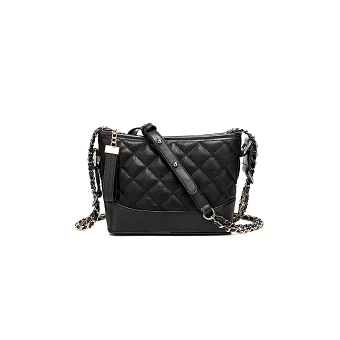Other High Quality Microfiber Leather Double Chain Quilted Plaid Hobos Shoulder Crossbody Messenger Bags Back Pack femmes Handbag Small(noir) à prix pas cher