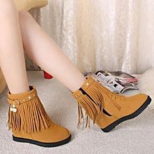 09a9d001338 Jiahsyc Store Fashion Women Fringe Flat Short Boots Woman Tassel Increase  Martin Boots BW 36