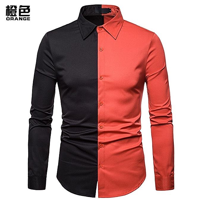 OEM Men Shirt Splice Turn-Down Collar Casual Slim Fit Male Shirts Men's Long Sleeved Fashion Shirt -Orange à prix pas cher
