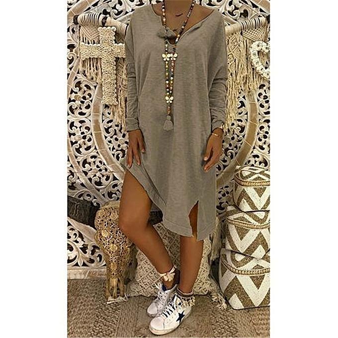 Fashion schoolcool femmes Plus Taille V-Neck Loose Casual Solid Long Sleeve T-Shirt Dress à prix pas cher