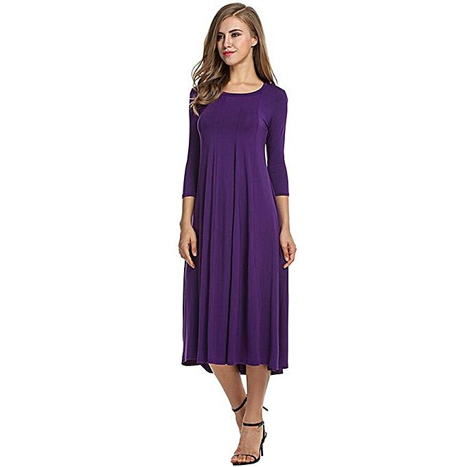 Tauntte Wohommes Casual Long Sleeve Dress (violet) à prix pas cher