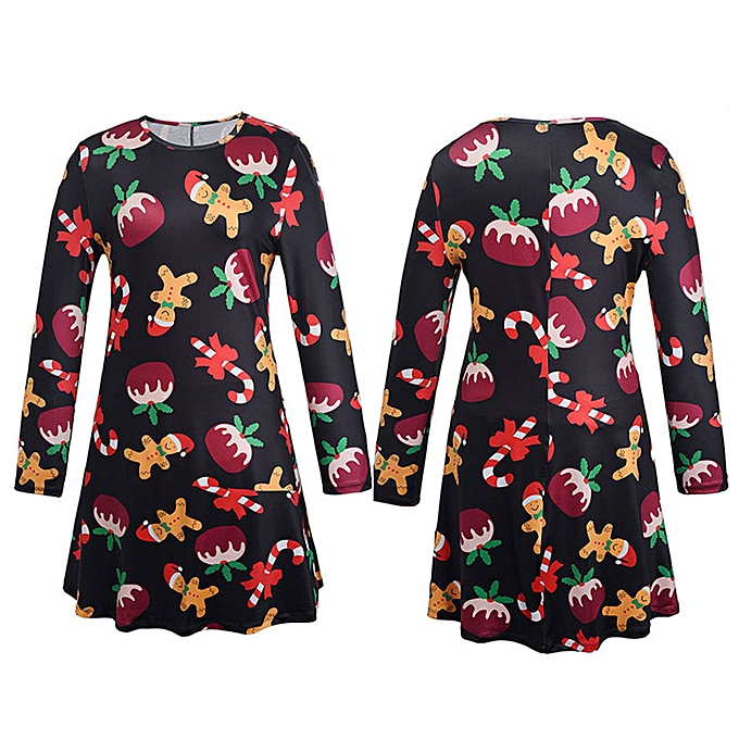 mode quanxinhshang Xmas Print Swing Robe Ladies Christmas manche longue Flarouge Party Robees BK XL à prix pas cher