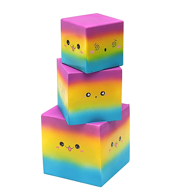 UNIVERSAL Huge Squishy Square Cake  Colour Kawaii Cute Soft Solw Rising Toy voituretoon Gift Collection-14.8cm à prix pas cher