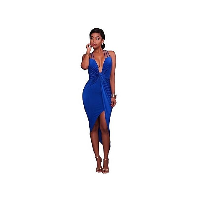 Generic New StuffAutumn Beach Dress femmes Sundress Bow Casual Sexy Dress Slim Fit Bodycon Short Dress -bleu à prix pas cher