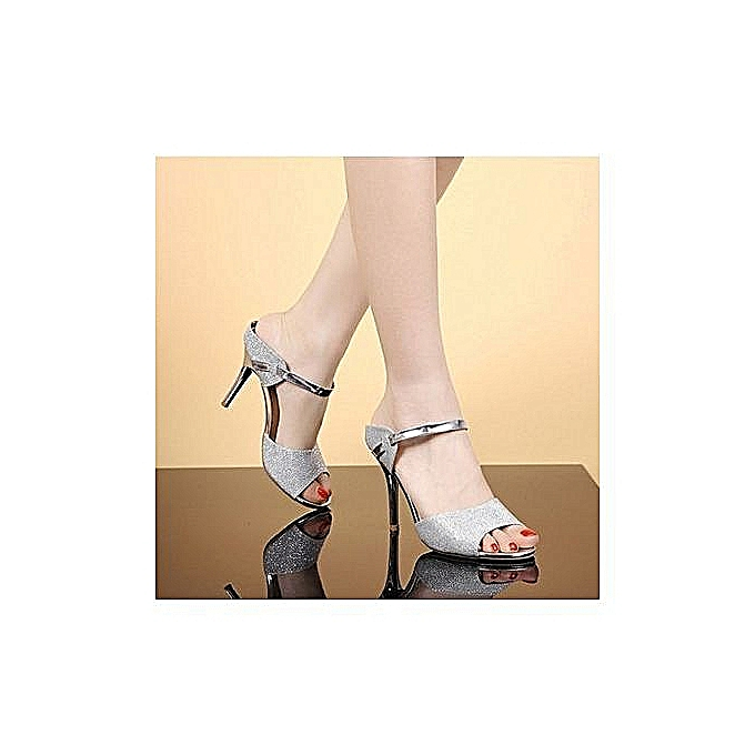 mode High Quality Open Toe talons hauts With Ankle Strap - argent à prix pas cher