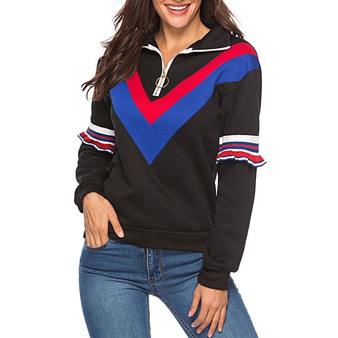 Fashion meibaol store femmes Casual Long Sleeve Patchwork Sweatshirt Turn Down Collar Zipper Top Blouse à prix pas cher