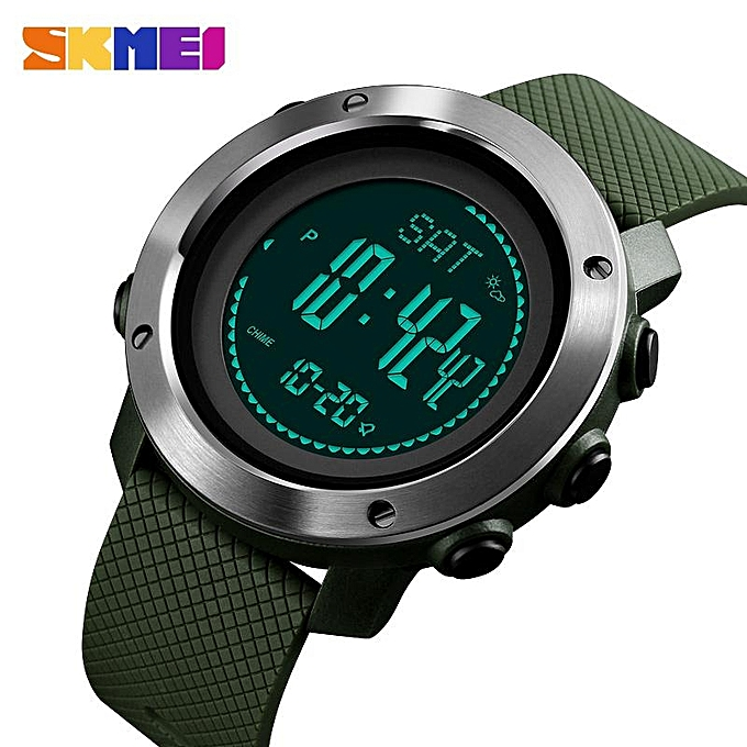 Other SKMEI New Men Sports Watches Digital Calorie Watch Altimeter Thermometer Mountaineering femmes Waterproof Outdoor Wristwatches 1418 1427 (Armyvert) FCJMALL à prix pas cher
