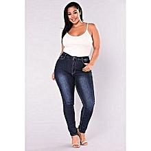 25d457830c976 Jeans grande taille taille pantalons femme causale crayon skinny femmes  pantalon bleu foncé