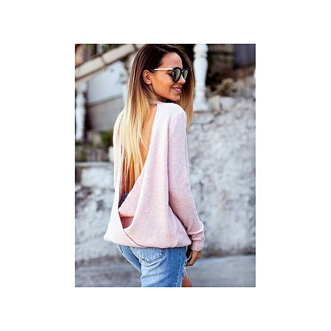 Generic Wear V-Neck hauts On Both Sides In Autumn And Winter-rose à prix pas cher