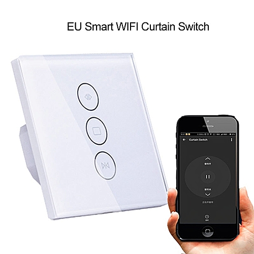 EU Touch Wall Wifi Curtain Switch remote Control/voice control work with  Alexa google home For Motor Roller Shutter smart home