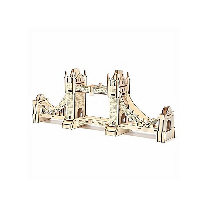 UNIVERSAL 1Pcs 3D Jigsaw London Tower Bridge Woodcraft Assembly Handcraft Home Decor DIY Model à prix pas cher