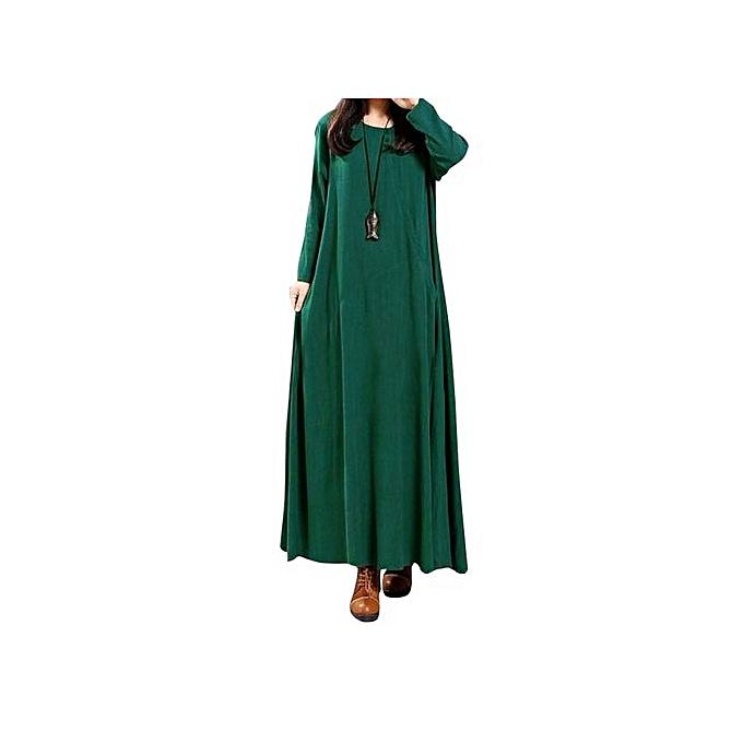 Fashion femmes Fashion Autumn Cotton Linen Dress Long Maxi Dresses Long Sleeve Casual Loose Vestidos -vert à prix pas cher