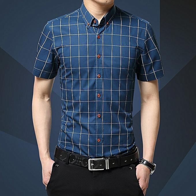 Tauntte Check Men's Shirts Short Sleeve Slim Fit Business Formal Shirts (Royal bleu) à prix pas cher
