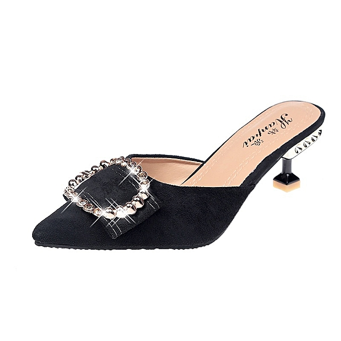 Other Lady's Summer New Pointed-toe Stiletto Heels Half Sandals PU chaussures-noir. à prix pas cher