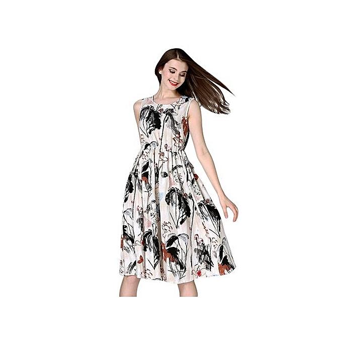 Generic HL Retro Style Round Collar Floral Print Sash Waist Dress For femmes (As The Picture)(S,M) à prix pas cher