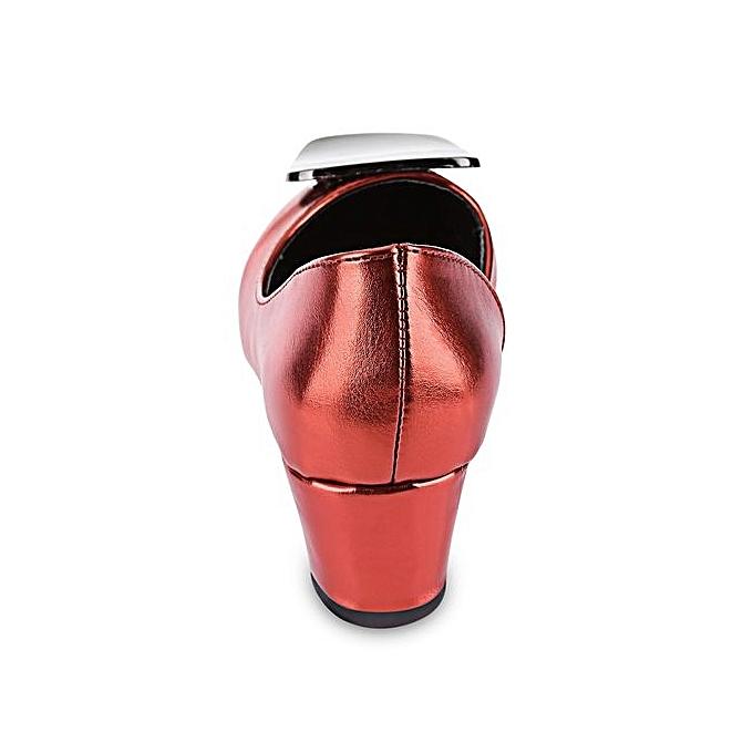 Générique Stylish   Thick Shoes Heel Shoes Thick Square Buckle EmbellishHommes t Side Empty Shoes-RED à prix pas cher  | Jumia Maroc 8c4d54