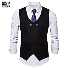 9fe78658885b5 Casual Men Vest Double Breasted Brand Suit Vest Wedding Vests Gilet Slim  Fit Sleeveless Waistcoat Male