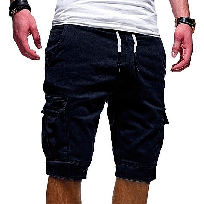 Other Stylish Men's Multi Pockets Jogger Sporting Pants Short Pants  -Navy bleu à prix pas cher