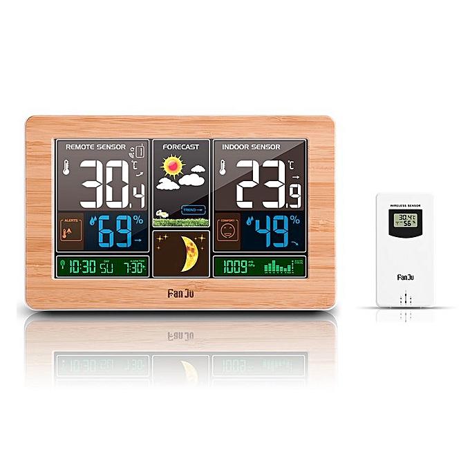 Allwin Écran Couleur Horloge Météo Compteur de température et d'humidité de l'écran LED en bois Alarme à prix pas cher