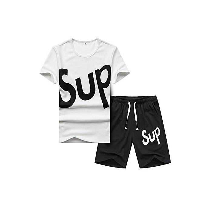 Other Letters impression  T Shirt Two Piece Sports Suit -blanc à prix pas cher