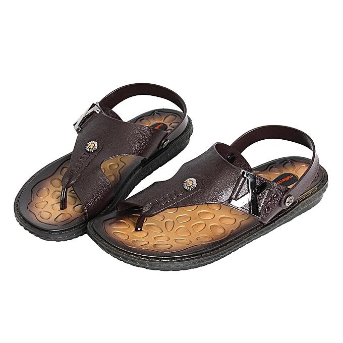 Fashion Mens Summer Leather Sandals Slippers Casual Beach Flip Flops Flat With Sandals marron-EU à prix pas cher